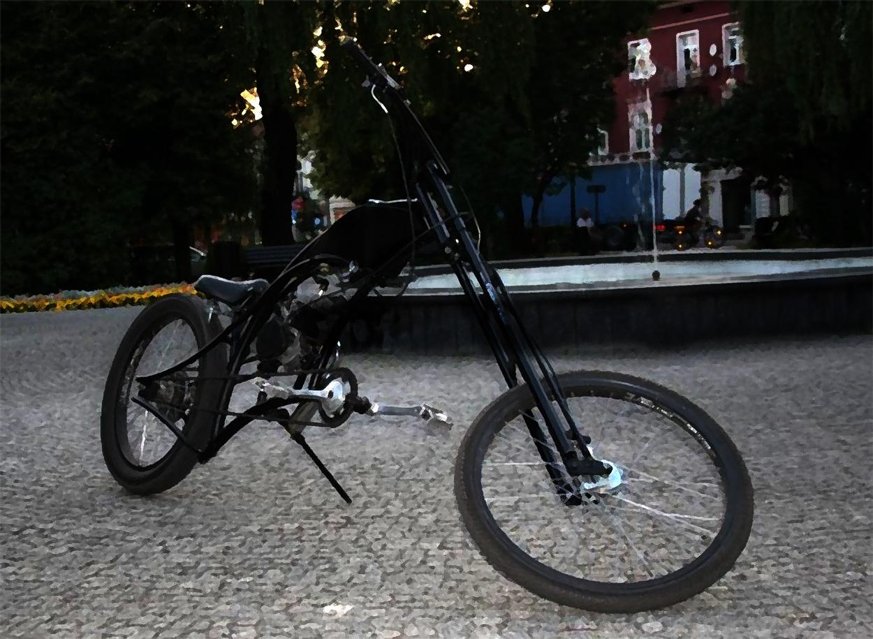 Radomszczański park na placu 3 Maja - rower custom bike Artura Lechowskiego