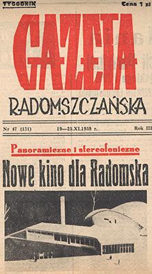 O MDK Radomsko nim powstało kino - artykuł z Gazety Radomszczańskiej nr 47 z listopada 1959 roku.