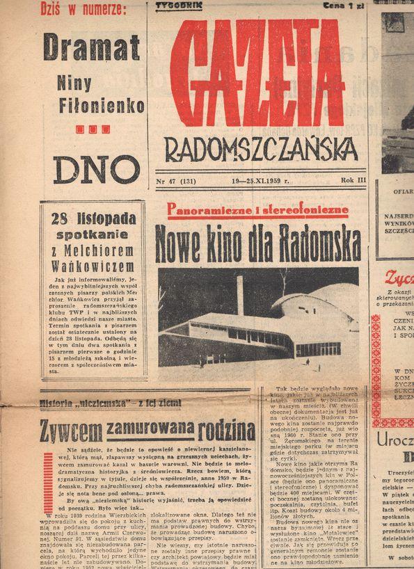 """Skan 131-ego wydania tygodnika lokalnego """"Gazeta Radomszczańska"""" z 1959 roku"""